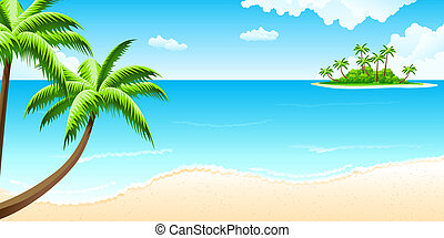 Tropical landscape with palm tree clouds and island