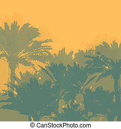 Tropical landscape with palms silhouettes and clear sky. Vector background.
