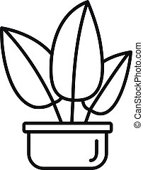 Tropical leaf houseplant icon, outline style