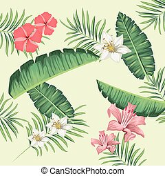 tropical leafs and flowers foliage pattern background