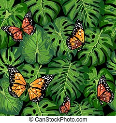 tropical leaves and butterflies