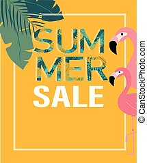 Tropical leaves and flamingo with summer sale  idea for banner and background