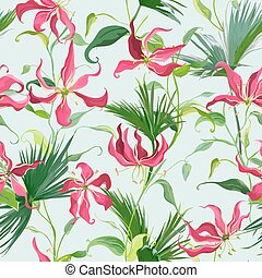 Tropical Leaves and Flowers Background. Seamless Pattern in Vector