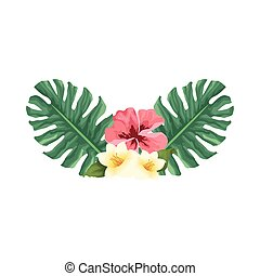 tropical leaves and flowers, colorful design