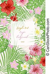 Tropical leaves and flowers. Exotic background