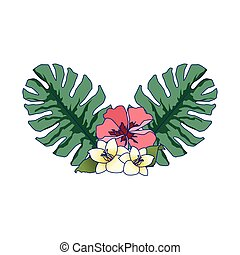 tropical leaves and flowers icon