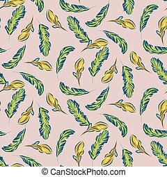 Tropical leaves and flowers seamless vector pattern.