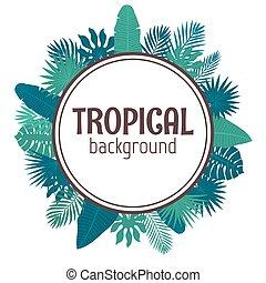 Tropical leaves background. Summer design. Circle frame