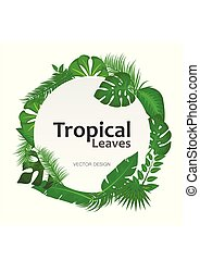 Tropical leaves background with white round sign with text space frame banner. Suitable for nature concept, vacation, and summer holiday. Vector illustration.