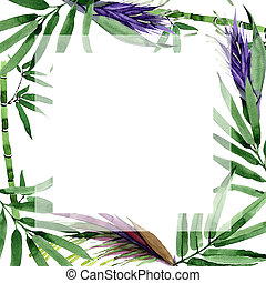 Tropical leaves bamboo tree frame in a watercolor style.