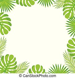 Tropical Leaves Border Isolated Green Palm Leaves