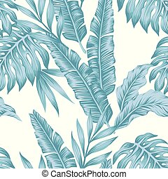 Tropical leaves cold color seamless