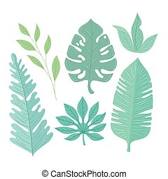 tropical leaves collection on pastel color