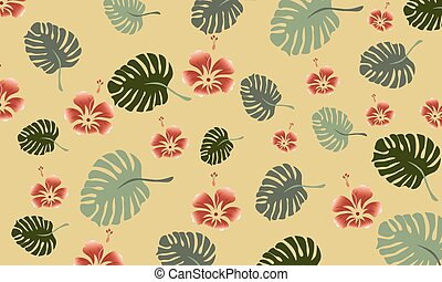 Tropical leaves composition with red flowers. Warm time