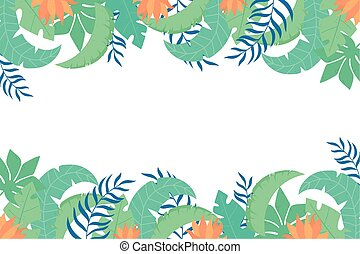tropical leaves green leaves and flowers nature frame