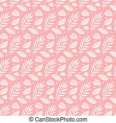 Tropical leaves in pink color seamless pattern background