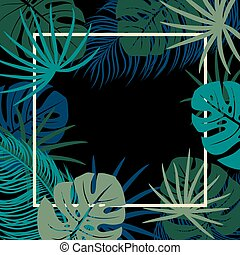 Tropical leaves on black background with copy space vector illustration