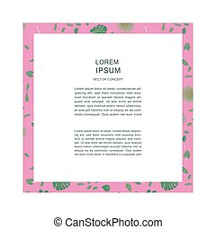 Tropical leaves pattern on pink frame with space for text.