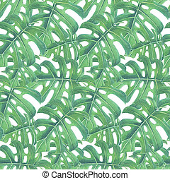 Tropical leaves pattern - Tropical seamless pattern made of...
