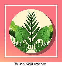 tropical leaves round banner foliage decoration