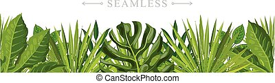 Tropical leaves seamless pattern border frame with space for text.