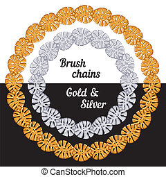 Tropical leaves Set of chains metal brushes - gold and silver. vector.
