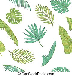 Tropical leaves various shapes seamless pattern background.