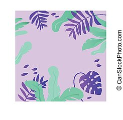 Tropical leaves vector background. Exotic floral frame
