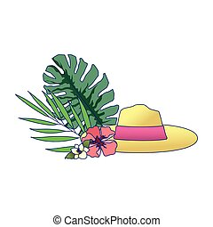 tropical leaves with flowers and beach hat