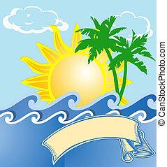 tropical, logotipo, vacaciones, mar