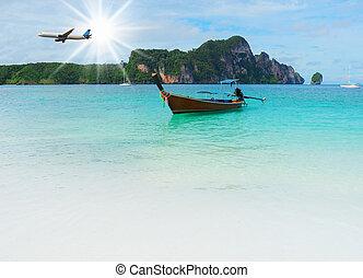 tropical, longtail, playa, barco, mar