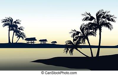 tropical, mar, paisaje