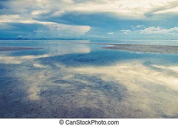 tropical, mar, playa, con, hermoso, reflexión