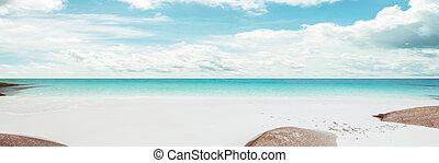 tropical, mar, y, cielo nublado