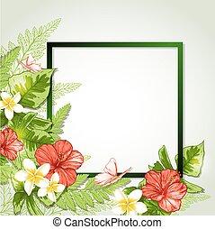 tropical, marco, con, flores