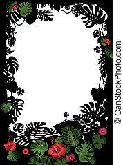 tropical, marco, flores