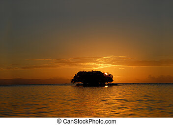 Tropical marine sunrise with island