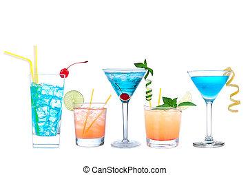 Tropical Martini cosmopolitan cocktails blue hawaiian and yellow