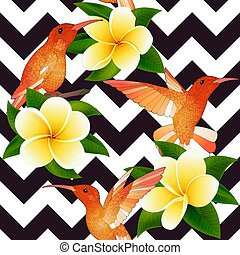 Tropical modern seamless pattern with Hummingbirds and flowers on geometry
