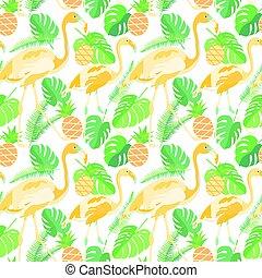 tropical, moderno, seamless, patrón, con, flamencos, piñas, y, palma sale