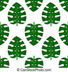 Tropical monstera leaf pattern