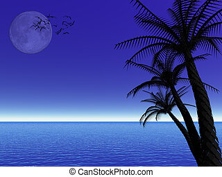Tropical moon night - Colorful background, illustration of a...