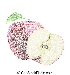 Tropical nature fresh colorful stippling fruit isolated vector red apple