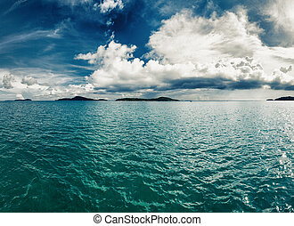 Tropical nature landscape with sea and clouds