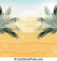 Tropical nature, warm Golden sand and the bright sun under the leaves of palm trees.