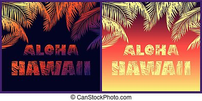 Tropical neon backgrounds with floral Aloha Hawaii lettering...