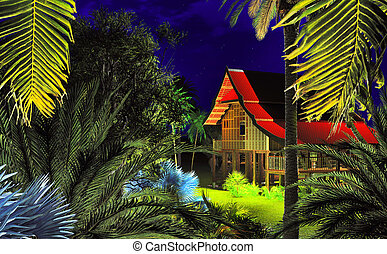 Tropical night in summer resort 3d rendering