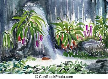 tropical oasis watercolor - Japanese Garden Bridge Drawing