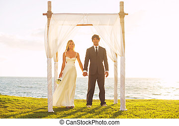 tropical, ocaso, boda