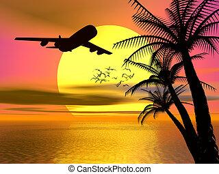tropical, ocaso, con, avión.